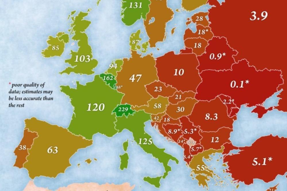 МАПА НА БОГАТСТВО НА ЕВРОПСКИТЕ ЗЕМЈИ  Екс ју земјите меѓу најсиромашните  каде сме ние