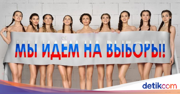 За потребите на политичката кампања сопругата на руски политичар гола повикува на гласање